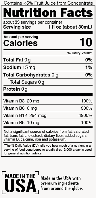 Cranberry-Grape Nutrition Label
