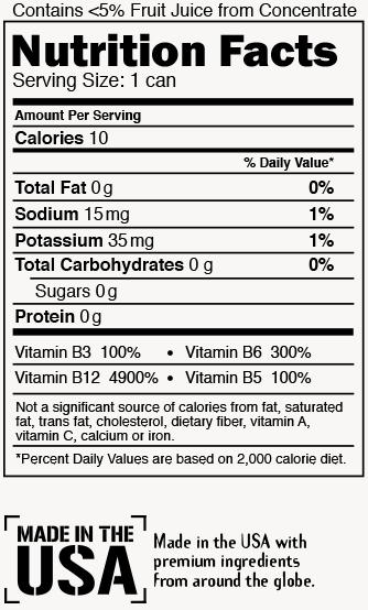 Black Cherry Cola Nutrition Label