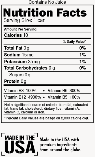 Rootbeer Blast Nutrition Label