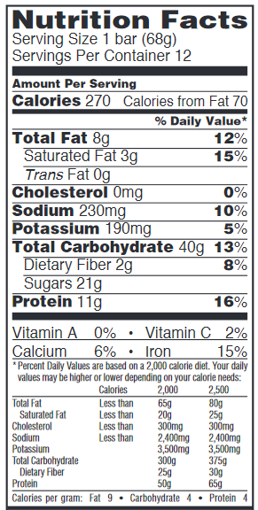 Chocolate Chip Nutrition Label