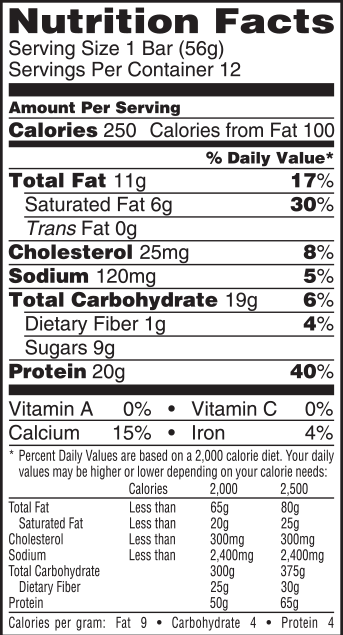 Chocolate Peanut Butter Nutrition Label