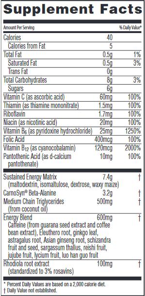 Citrus Burst Nutrition Label