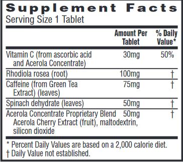 Energy + Focus Nutrition Label