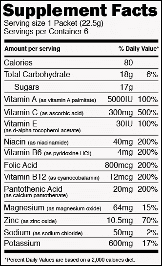Pineapple Coconut Nutrition Label
