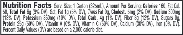Vanilla Crème Nutrition Label