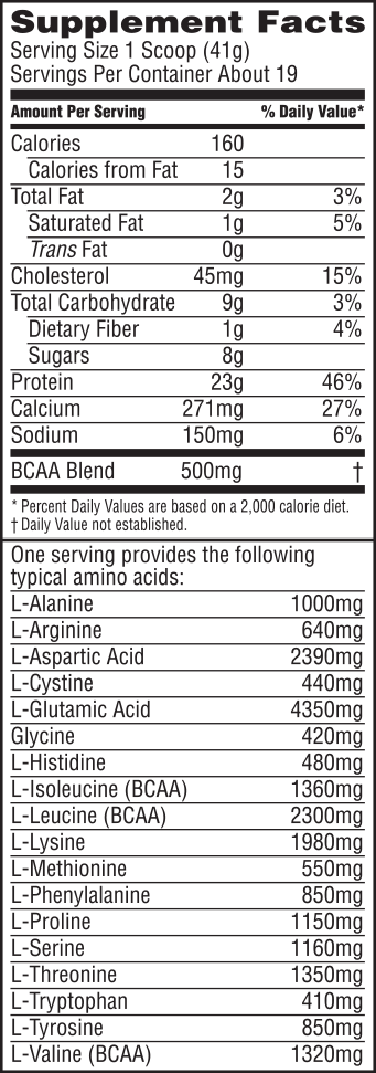 Vanilla Dream Nutrition Label